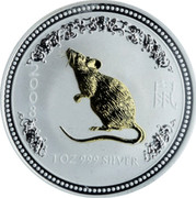 Australia Dollar Year of the Mouse - Gilded 2007 1 OZ 999 SILVER 2008 coin reverse