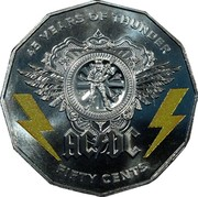 Australia Fifty Cents AC/DC 45 Years of Thunder 2018 45 YEARS OF THUNDER ACDC FIFTY CENTS coin reverse