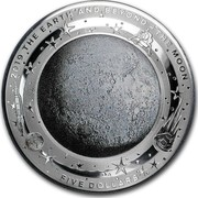 Australia Five Dollars Domed Earth and Beyond - The Moon 2019 2019 THE EARTH AND BEYOND THE MOON FIVE DOLLARS coin reverse