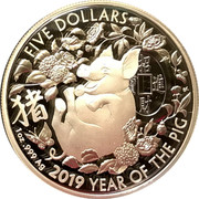 Australia Five Dollars Year of the Pig 2019 Proof FIVE DOLLARS 猪 招財進寳 BK 1OZ .999 AG 2019 YEAR OF THE PIG coin reverse