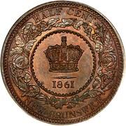 Canada Half cent (Victoria) KM# 5 HALF CENT 1861 NEW BRUNSWICK coin reverse