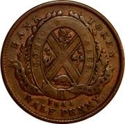 Canada Half Penny Bouquet Sous 1844 KM# Tn18 BANK TOKEN HALF PENNY CONCORDIA SALUS BANK OF MONTREAL *YEAR* coin reverse