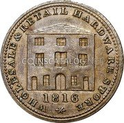 Canada Halfpenny (Wholesale & Retail Hardware Store) WHOLESALE & RETAIL HARDWARE STORE 1816 coin obverse