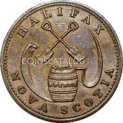 Canada Halfpenny (Wholesale & Retail Hardware Store) HALIFAX NOVA SCOTIA coin reverse