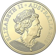 Australia One Dollar The Sixth Effigy 2019 UNC in Coincard ELIZABETH II ∙ AUSTRALIA 2019 JC coin obverse