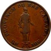 Canada Sou Bouquet Sous 1837 KM# Tn8 PROVINCE DU BAS CANADA. UN SOU coin obverse