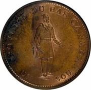 Canada Sou Bouquet Sous 1837 KM# Tn7 BANK TOKEN CONCORDIA SALUS QUEBEC BANK 1837 HALF PENNY. coin obverse