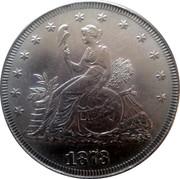 USA Trade Dollar Liberty Seated European Effigy Pattern 1873 LIBERTY 1873 coin obverse