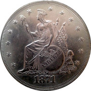 USA Trade Dollar Seated Indian Liberty with Flags Pattern 1871 LIBERTY 1871 coin obverse