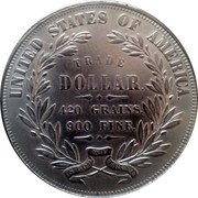 USA Trade Dollar Seated Indian Liberty with Flags Pattern 1871 UNITED STATES OF AMERICA TRADE DOLLAR 420 GRAINS 900 FINE IN GOD WE TRUST coin reverse
