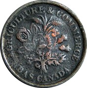 Canada Un Sou lower Canada Banque du Peuple ND KM# Tn4 AGRICULTURE & COMMERCE BAS CANADA coin obverse