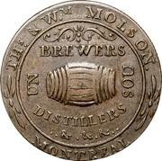 Canada Un Sou (Molson Breweries) THS & WM MOLSON BREWERS UN SOU DISTILLERS & . & . & . MONTREAL coin obverse