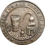 Canada Un Sou (Molson Breweries) CASH PAID FOR ALL SORTS OF GRAIN 1837 coin reverse
