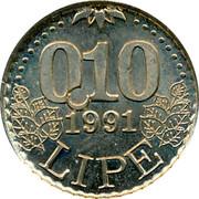 Slovenia 0.10 Lipe 1991 UNC X# Tn7 Standart Coinage 0,10 1991 LIPE coin reverse