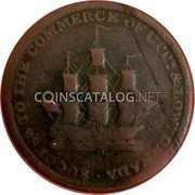 Canada 1/2 Penny Issac Brock 1816  SUCCESS TO THE COMMERCE OF UPPR & LOWR CANADA coin obverse