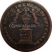 Canada 1/2 Penny Sir Issac Brock 1816  SR ISAAC BROCK THE HERO OF UPR CANADA FELL OCT 13 1812 coin obverse