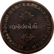 Canada 1/2 Penny Sir Issac Brock 1816  1816 SUCCESS TO COMMERCE & PEACE TO THE WORLD coin reverse