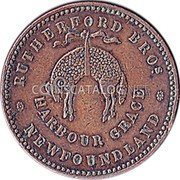 Canada 1/2 Penny Rutherford Harbour Grace 1846 RH RUTHERFORD BROS. HARBOUR GRACE * NEWFOUNDLAND * coin reverse