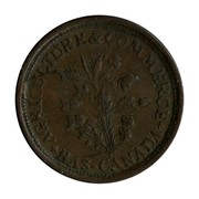 Canada 1/2 Penny T Duseaman Butcher Belleville ND + AGRICULTURE & COMMERCE + BAS - CANADA coin reverse