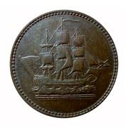 Canada 1/2 Penny Wellington Waterloo - ship design 1815  coin obverse