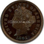 USA 1 Cent Wreath around Dime 1881 UNITED STATES OF AMERICA 1881 coin obverse