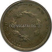 USA 1 Cent Flying Eagle Cent Pattern 1855 UNITED STATES OF AMERICA ONE CENT coin reverse