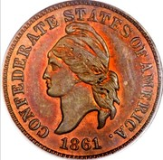 USA 1 Cent Haseltine Restrike 1861  CONFEDERATE STATES OF AMERICA 1861 coin obverse
