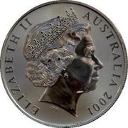 Australia 1 Dollar Aboriginal Kangaroo 2001 KM# 590 ELIZABETH II AUSTRALIA 2001 coin obverse