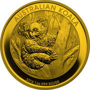 Australia 1 Dollar Australian Koala 2013 P BU KM# 1979c AUSTRALIAN KOALA 2013 1 OZ 999 SILVER P TV coin reverse