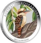 Australia 1 Dollar Kookaburra (In Color) 2014 P AUSTRALIAN KOOKABURRA 2014 1 OZ 999 SILVER P coin reverse