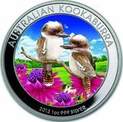 Australia 1 Dollar Kookaburras (In Color) 2013 AUSTRALIAN KOOKABURRA 2013 1 OZ 999 SILVER P coin reverse