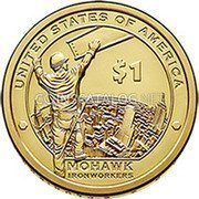 USA 1 Dollar (Mohawk Ironworkers) KM# 603 UNITED STATES OF AMERICA $1 RS PH MOHAWK IRONWORKERS coin reverse