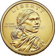 USA $1 (Native American Dollar - American Indians in the Space Program) LIBERTY IN GOD WE TRUST coin obverse