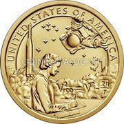 USA $1 (Native American Dollar - American Indians in the Space Program) UNITED STATES OF AMERICA $1 ESD JFM coin reverse