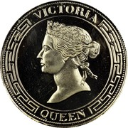 Australia 1 Sovereign Victoria Pattern 1987 Proof VICTORIA QUEEN coin obverse