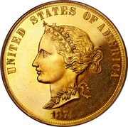 USA 10 Dollars Bickford Eagle 1874 KM# Pn1435 UNITED STATES OF AMERICA 1874 coin obverse