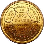 USA 10 Dollars Bickford Eagle 1874 KM# Pn1435 DOLLARS 10 STERLING £2·1·1 MARKEN 41·99 KRONEN 37·31 GULDEN 20·73 FRANCS 51·81 16.72 GRAMS 900 FINE UBIQUE. coin reverse