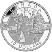 Canada 10 Dollars Canadian Holiday Scene 2014 Matte Proof KM# 1918.1 CANADA 2014 10 DOLLARS coin reverse