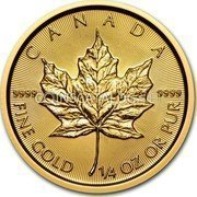 Canada 10 Dollars Maple Leaf 2015 CANADA 9999 9999 FINE GOLD 1/4 OZ OR PUR coin reverse