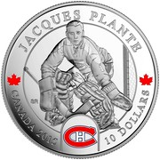 Canada 10 Dollars Jacques Plante 2015 Proof KM# 1891 JACQUES PLANTE CANADA 2015 10 DOLLARS coin reverse
