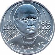 Slovakia 10 Euro 150th Anniversary of the birth of Jozef Murgas 2014 KM# 133 10 EURO 1864 1929 JOZEF MURGAS IR coin obverse
