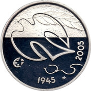 Finland 10 Euro 60 Years Peace 2005 M-M KM# 120 1945 M 2005 coin reverse