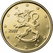 Finland 10 Euro Cent 2nd map 2007 FI Proof KM# 126 coin obverse
