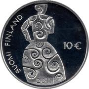 Finland 10 Euro Hella Wuolijok 2011 P KM# 165 SUOMI FINLAND 10 € coin reverse