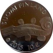 Finland 10 Euro Jean Sibelius 2015 Proof KM# 225 SUOMI FINLAND 2015 10 € coin obverse