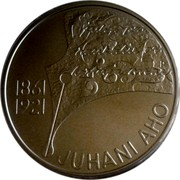 Finland 10 Euro Juhani Aho 2011 P Proof KM# 168a JUHANI AHO P 1861 1921 coin reverse