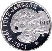 Finland 10 Euro Tove Jansson 2014 Proof KM# 217 TOVE JANSSON 2014 1914 • 2001 coin obverse