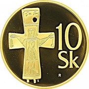 Slovakia 10 Korun 2008 Proof KM# 11b Republic 10 SK R Z coin reverse