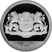 Latvia 10 Latu Riga 800 1998 Proof KM# 31 1998 10 LATU coin obverse