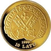 Latvia 10 Latu Riga 800th Anniversary 1998 Proof KM# 29 1998 10 LATU coin obverse